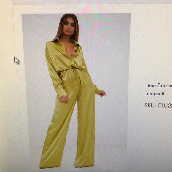c0669297d203 Lime extreme over sized satin wide leg jumpsuit. M 5a98a76485e605d3de76a2f8